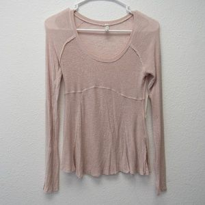 Free People Peach Top Crew Neck Long Sleeve